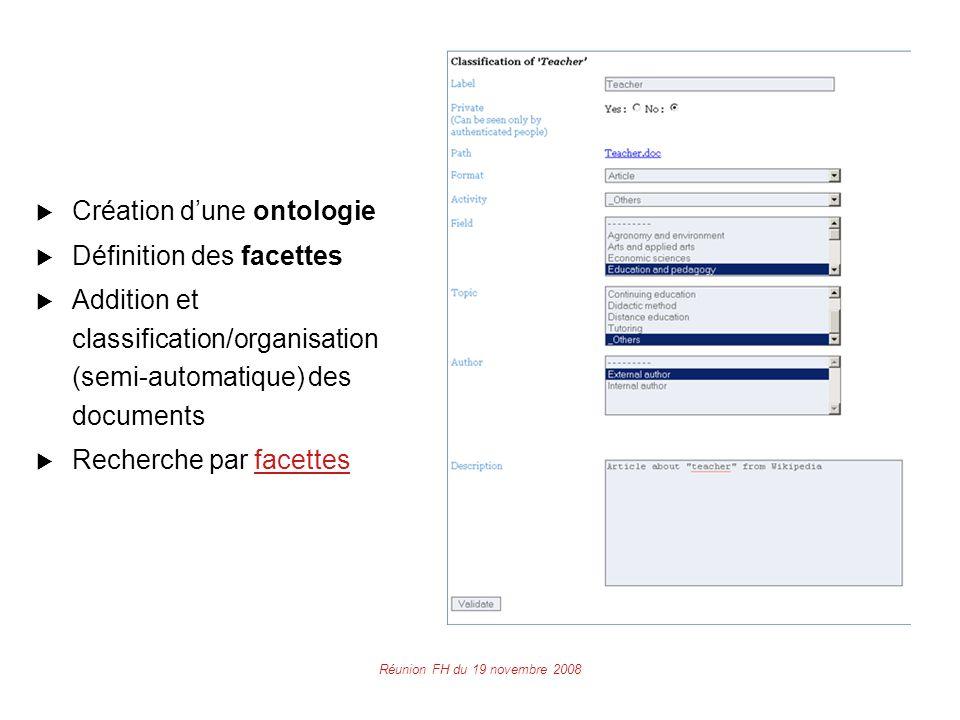 Réunion FH du 19 novembre 2008  Création d'une ontologie  Définition des facettes  Addition et classification/organisation (semi-automatique) des documents  Recherche par facettesfacettes