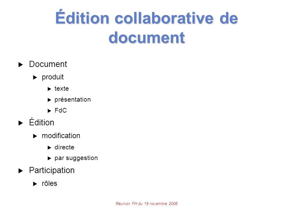 Réunion FH du 19 novembre 2008 Édition collaborative de document  Document  produit  texte  présentation  FdC  Édition  modification  directe  par suggestion  Participation  rôles
