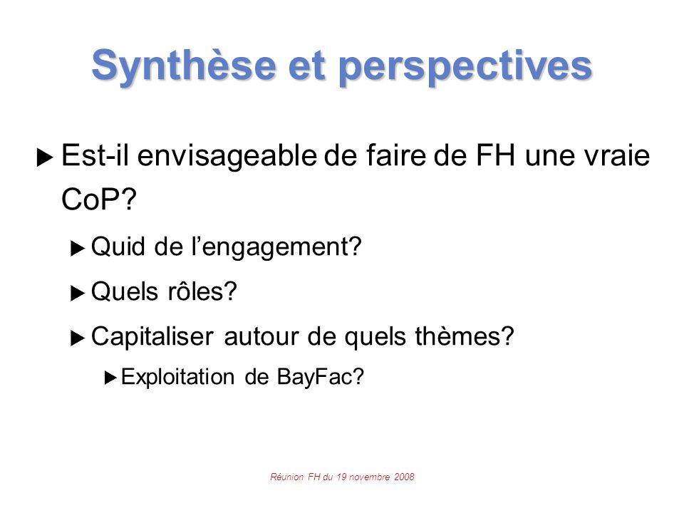 Réunion FH du 19 novembre 2008 Synthèse et perspectives  Est-il envisageable de faire de FH une vraie CoP.