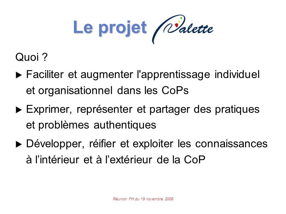 Réunion FH du 19 novembre 2008 Le projet Le projet Quoi .
