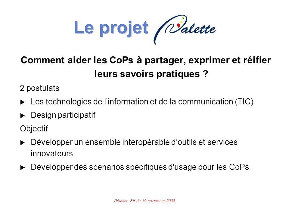 Réunion FH du 19 novembre 2008 Le projet Le projet Comment aider les CoPs à partager, exprimer et réifier leurs savoirs pratiques .