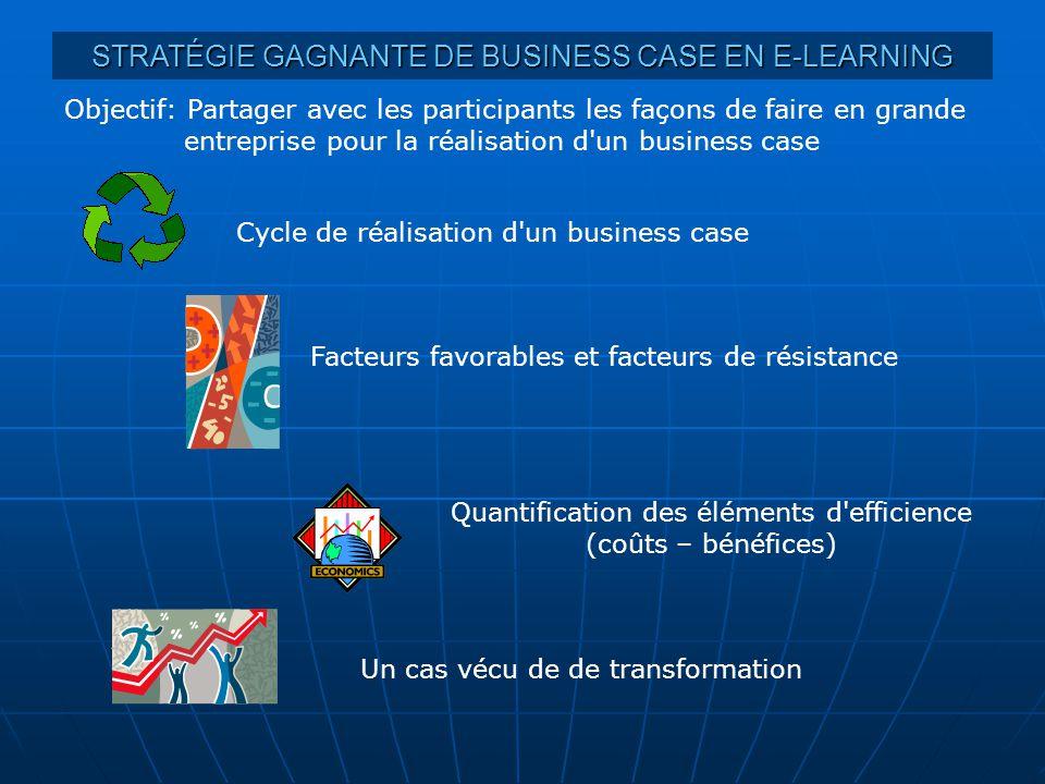 STRATÉGIE GAGNANTE DE BUSINESS CASE EN E-LEARNING Objectif: Partager avec les participants les façons de faire en grande entreprise pour la réalisatio