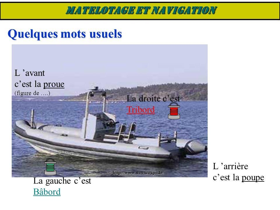 Aussière = grand cordage lové en vue de servir d'amarre Amarre = grand cordage utilisé pour amarrer un bateau, de la proue au quai ou de la poupe au quai Mouillage = …..peut être constitué d'un grand cordage, d'une chaîne et d'une ancre MATELOTAGE ET NAVIGATION Sur un bateau de plongée, il n'y a pas de corde, il n'y a que des « bout ».