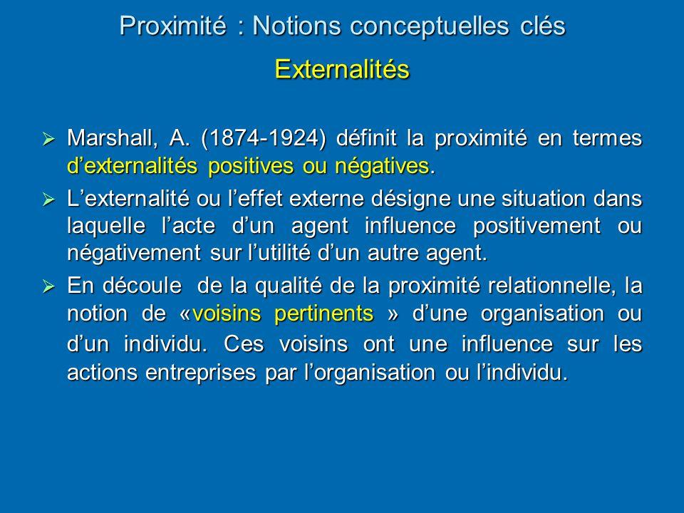 Proximité : Notions conceptuelles clés Externalités Proximité : Notions conceptuelles clés Externalités  Marshall, A. (1874-1924) définit la proximit