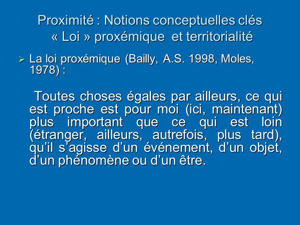 Proximité : Notions conceptuelles clés « Loi » proxémique et territorialité  La loi proxémique (Bailly, A.S. 1998, Moles, 1978) : Toutes choses égale