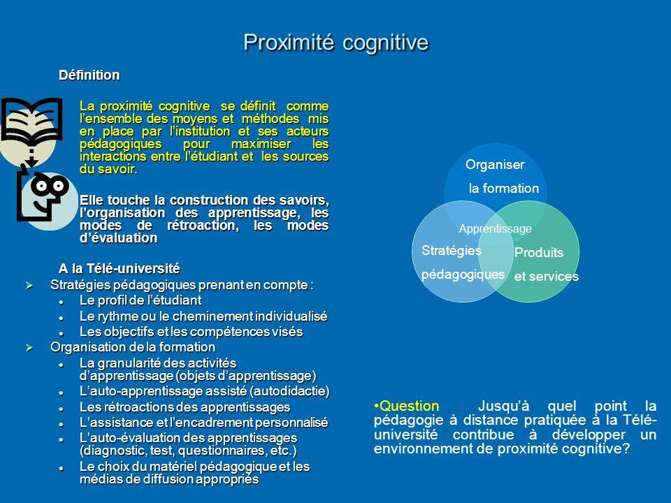 Proximité cognitive Définition La proximité cognitive se définit comme l'ensemble des moyens et méthodes mis en place par l'institution et ses acteurs