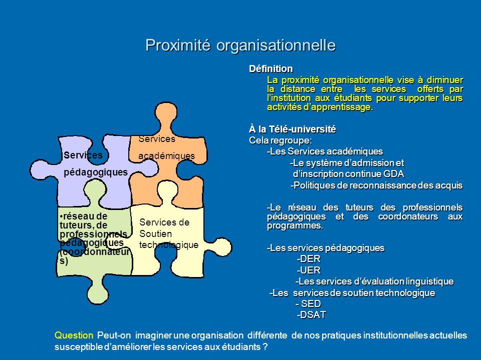 Proximité organisationnelle Définition La proximité organisationnelle vise à diminuer la distance entre les services offerts par l'institution aux étu