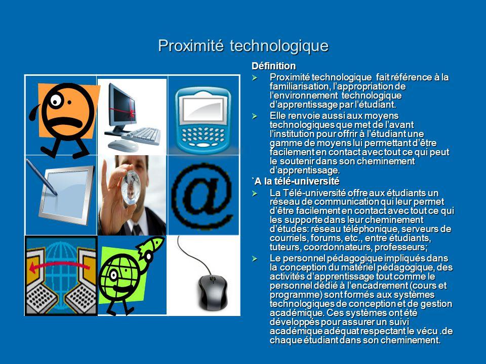 Proximité technologique Définition  Proximité technologique fait référence à la familiarisation, l'appropriation de l'environnement technologique d'a