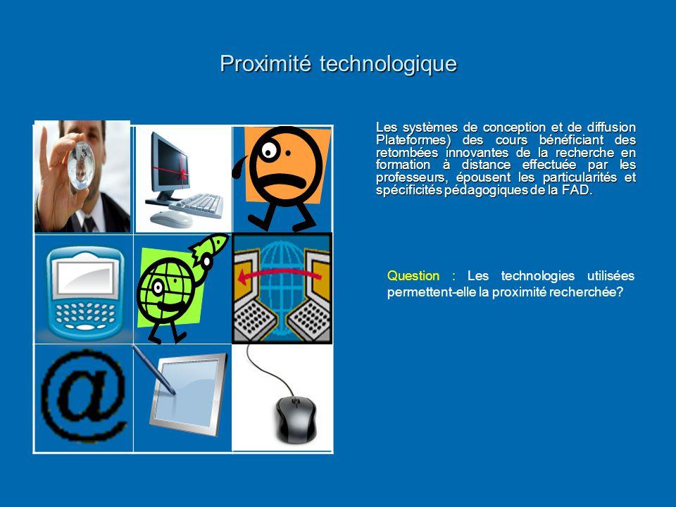 Proximité technologique Les systèmes de conception et de diffusion Plateformes) des cours bénéficiant des retombées innovantes de la recherche en form