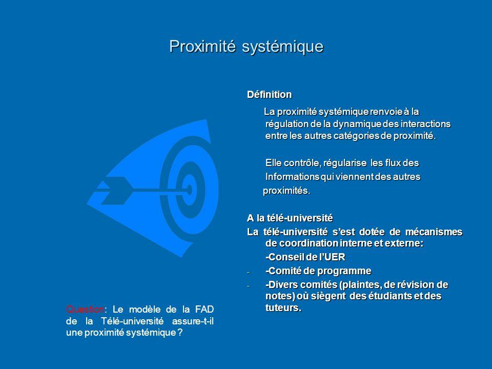 Proximité systémique Définition La proximité systémique renvoie à la régulation de la dynamique des interactions entre les autres catégories de proxim