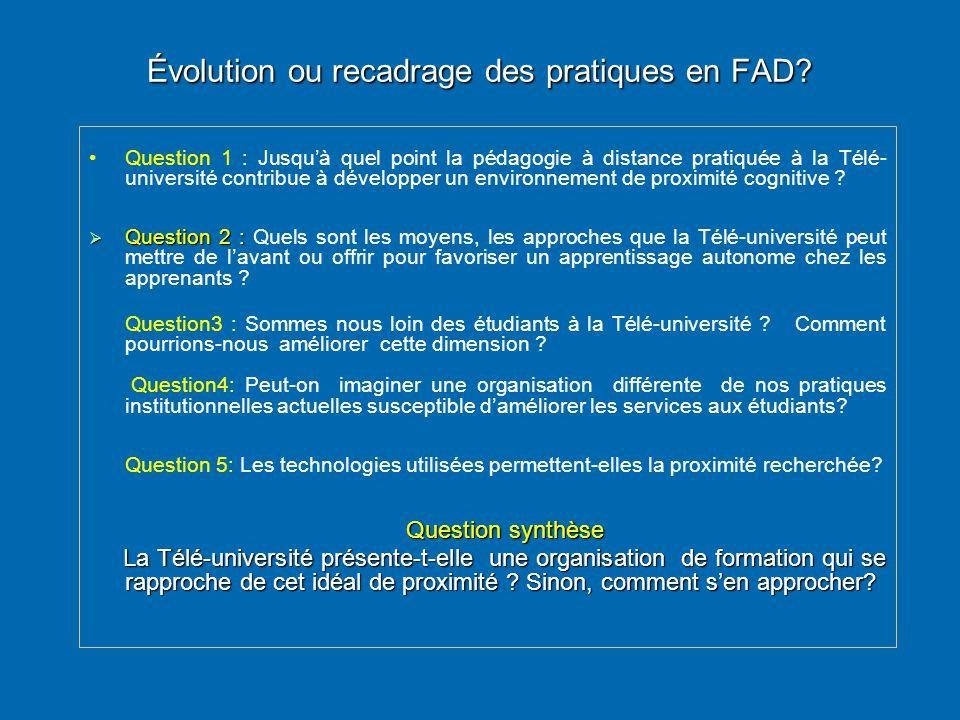 Évolution ou recadrage des pratiques en FAD? • •Question 1 : Jusqu'à quel point la pédagogie à distance pratiquée à la Télé- université contribue à dé