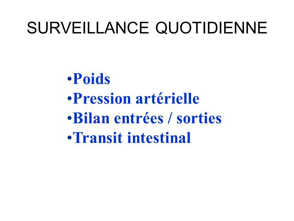 SURVEILLANCE QUOTIDIENNE •Poids •Pression artérielle •Bilan entrées / sorties •Transit intestinal