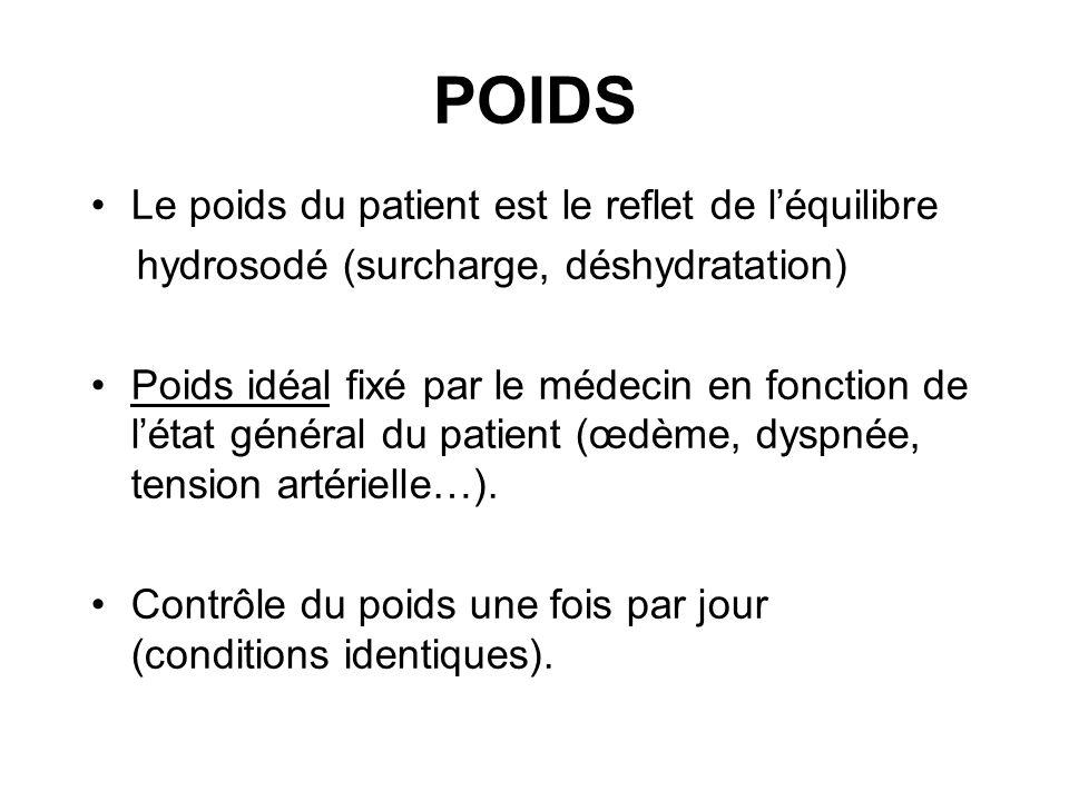 POIDS •Le poids du patient est le reflet de l'équilibre hydrosodé (surcharge, déshydratation) •Poids idéal fixé par le médecin en fonction de l'état g