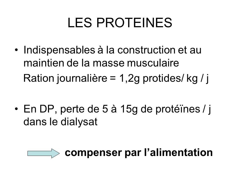 LES PROTEINES •Indispensables à la construction et au maintien de la masse musculaire Ration journalière = 1,2g protides/ kg / j •En DP, perte de 5 à