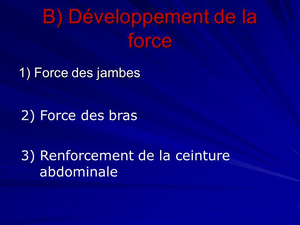 B) Développement de la force 1) Force des jambes 2) Force des bras 3) Renforcement de la ceinture abdominale