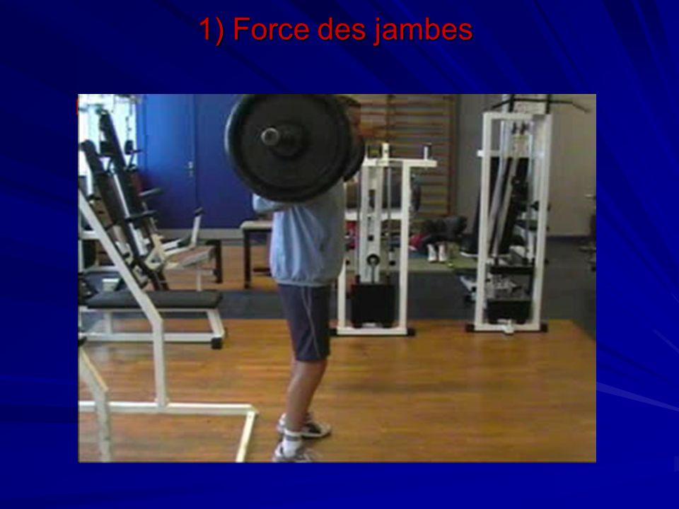 Travail du triceps sural 1) Force des jambes