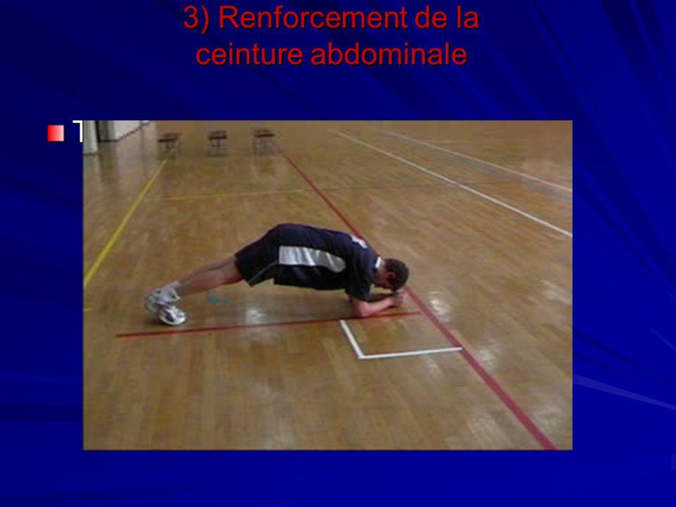 Travail de gainage 3) Renforcement de la ceinture abdominale