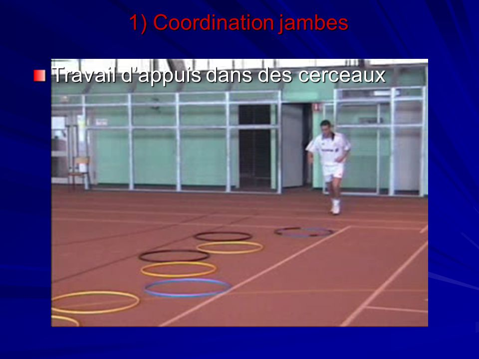 Travail avec plots (type « skipping ») 1) Coordination jambes