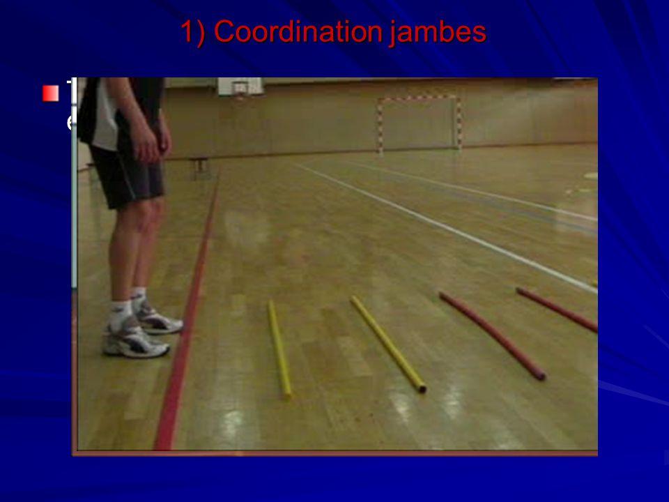 Travail d'appuis avec des lattes espacées de différentes manière 1) Coordination jambes
