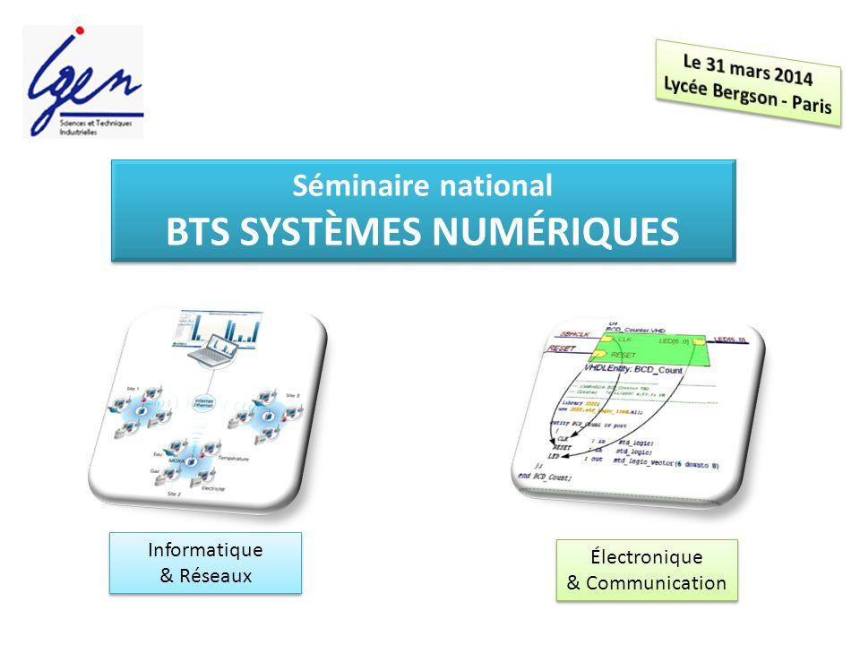 Séminaire national BTS SYSTÈMES NUMÉRIQUES Séminaire national BTS SYSTÈMES NUMÉRIQUES Informatique & Réseaux Informatique & Réseaux Électronique & Communication Électronique & Communication