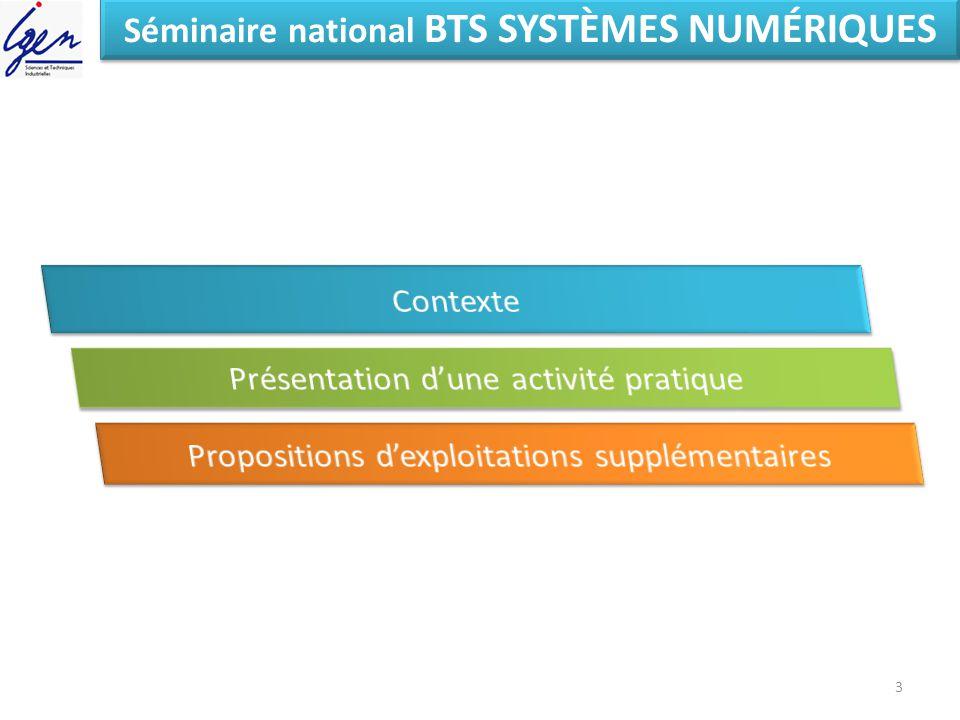 Séminaire national BTS SYSTÈMES NUMÉRIQUES 3