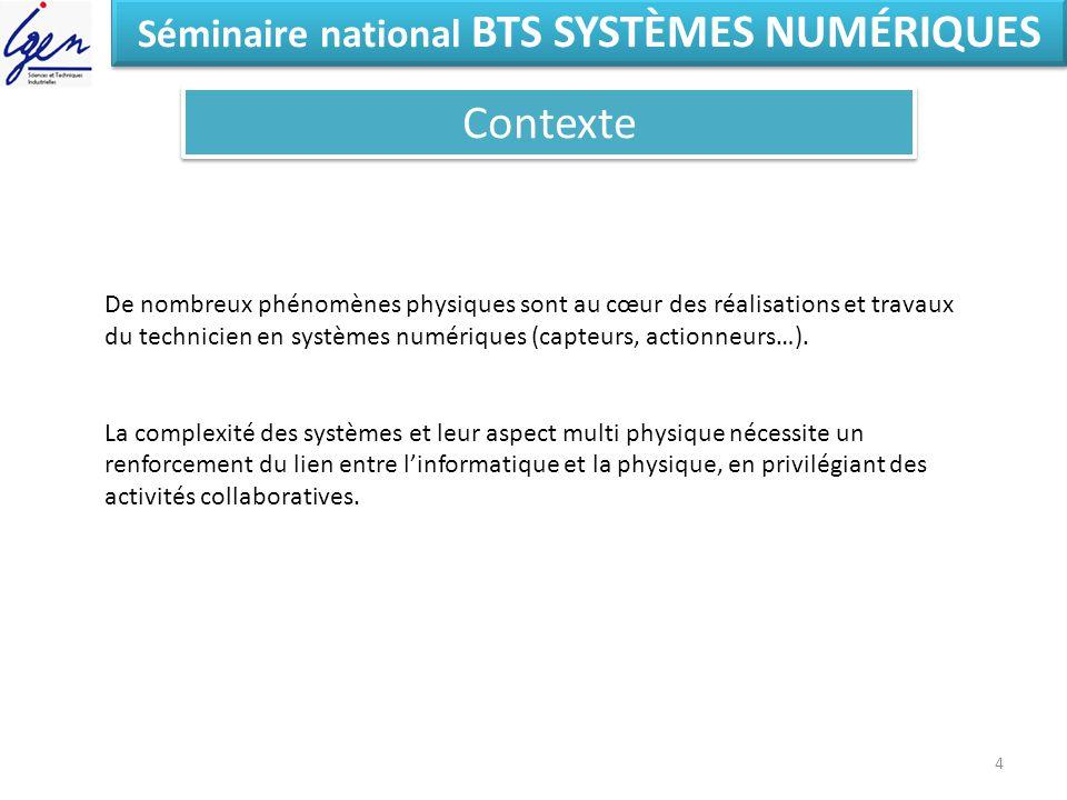 Eléments de constat Séminaire national BTS SYSTÈMES NUMÉRIQUES Contexte 4 De nombreux phénomènes physiques sont au cœur des réalisations et travaux du technicien en systèmes numériques (capteurs, actionneurs…).