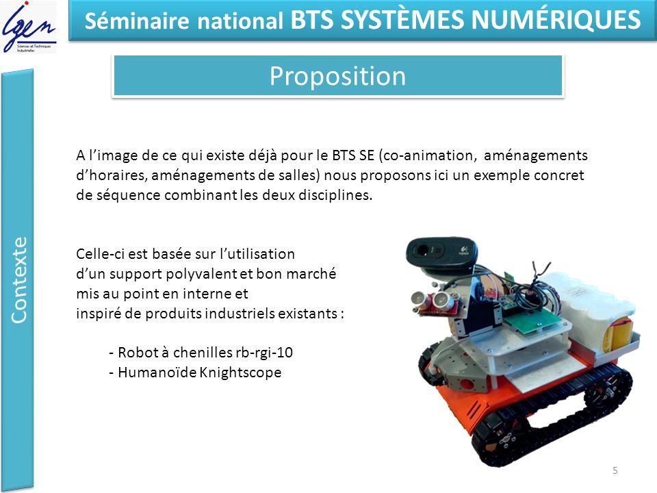 Eléments de constat Séminaire national BTS SYSTÈMES NUMÉRIQUES Proposition 5 A l'image de ce qui existe déjà pour le BTS SE (co-animation, aménagements d'horaires, aménagements de salles) nous proposons ici un exemple concret de séquence combinant les deux disciplines.