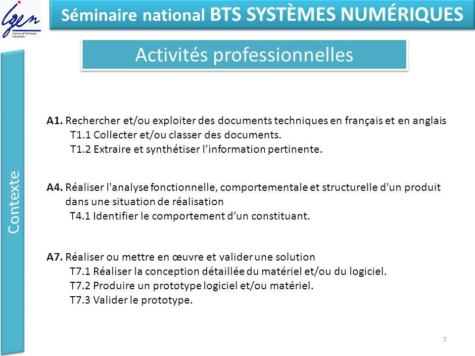 Eléments de constat Séminaire national BTS SYSTÈMES NUMÉRIQUES Activités professionnelles 7 A1.