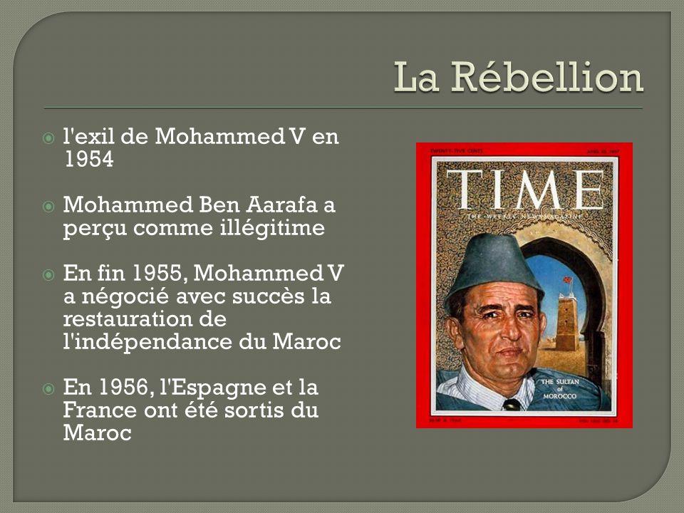  l'exil de Mohammed V en 1954  Mohammed Ben Aarafa a perçu comme illégitime  En fin 1955, Mohammed V a négocié avec succès la restauration de l'ind