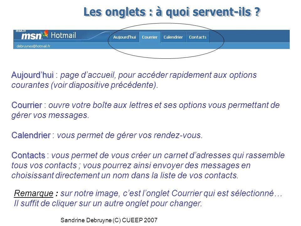 Sandrine Debruyne (C) CUEEP 2007 Aujourd'hui Aujourd'hui : page d'accueil, pour accéder rapidement aux options courantes (voir diapositive précédente).