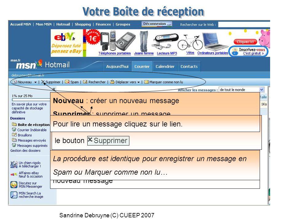 Sandrine Debruyne (C) CUEEP 2007 Nouveau : créer un nouveau message Supprimer : supprimer un message Spam : enregistrer un message comme courrier indé