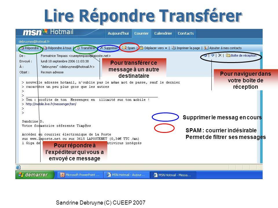 Sandrine Debruyne (C) CUEEP 2007 Pour naviguer dans votre boîte de réception Pour répondre à l'expéditeur qui vous a envoyé ce message Pour transférer