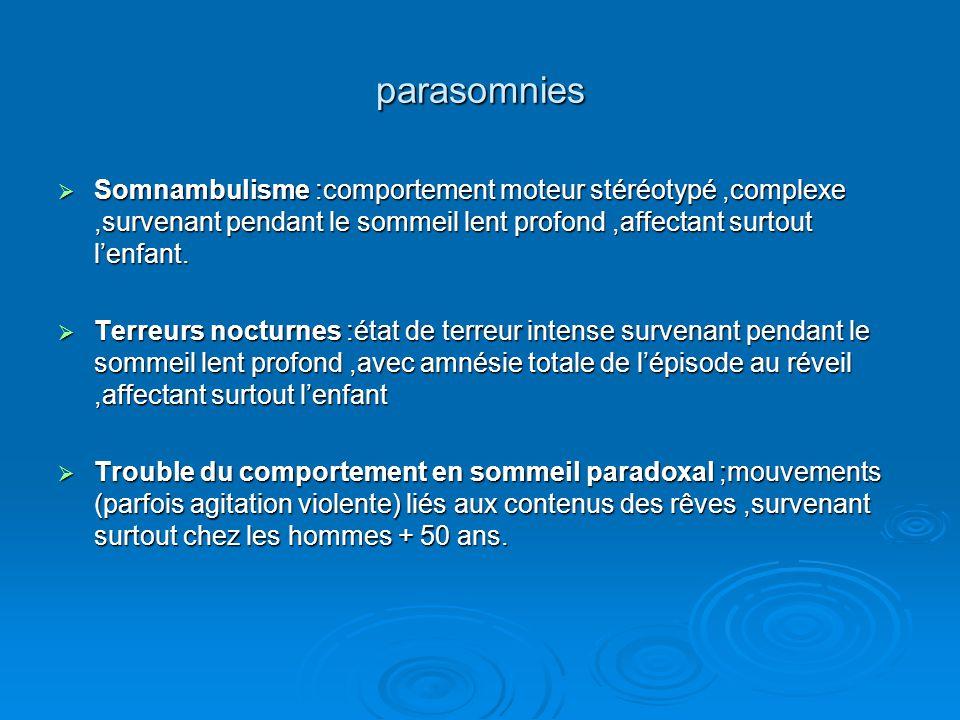 parasomnies  Somnambulisme :comportement moteur stéréotypé,complexe,survenant pendant le sommeil lent profond,affectant surtout l'enfant.