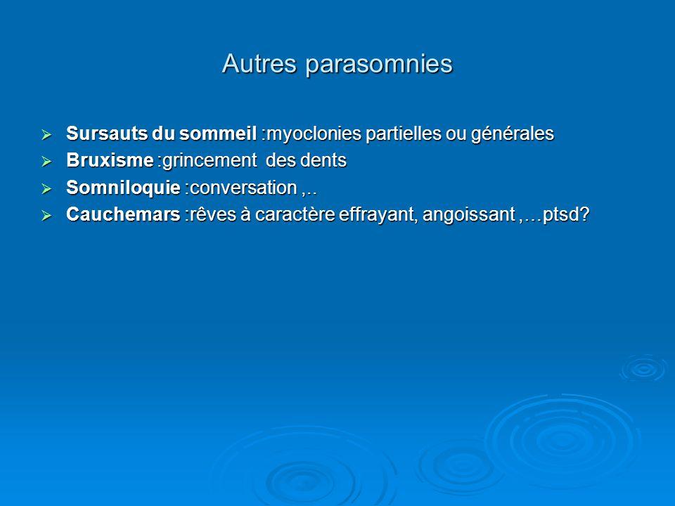 Autres parasomnies  Sursauts du sommeil :myoclonies partielles ou générales  Bruxisme :grincement des dents  Somniloquie :conversation,..