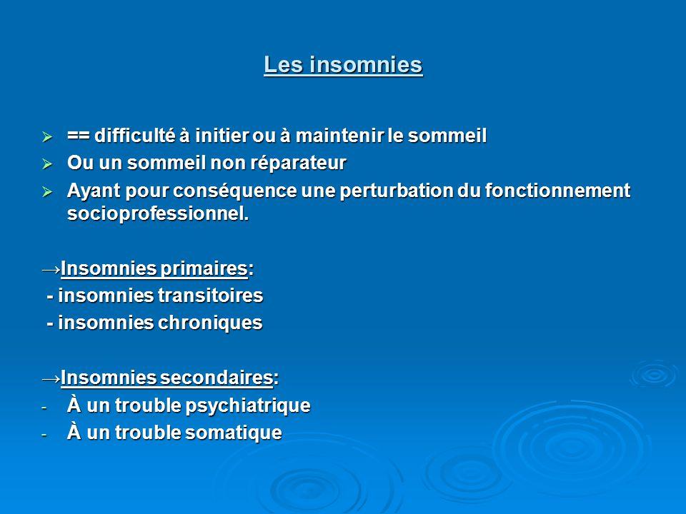 Les insomnies  == difficulté à initier ou à maintenir le sommeil  Ou un sommeil non réparateur  Ayant pour conséquence une perturbation du fonctionnement socioprofessionnel.