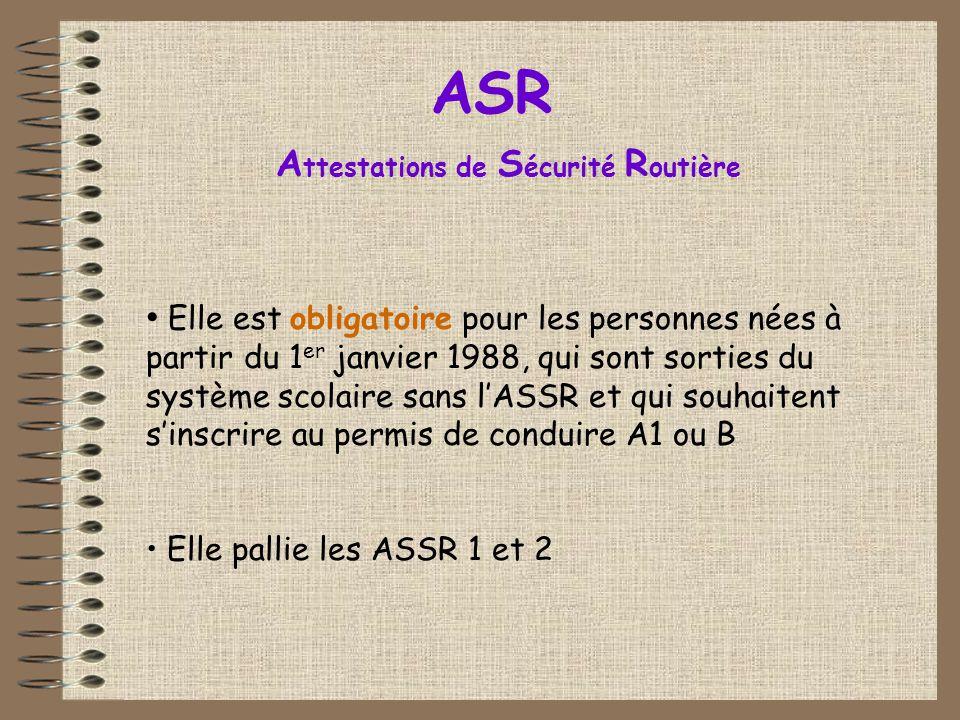 • Elle est obligatoire pour les personnes nées à partir du 1 er janvier 1988, qui sont sorties du système scolaire sans l'ASSR et qui souhaitent s'ins