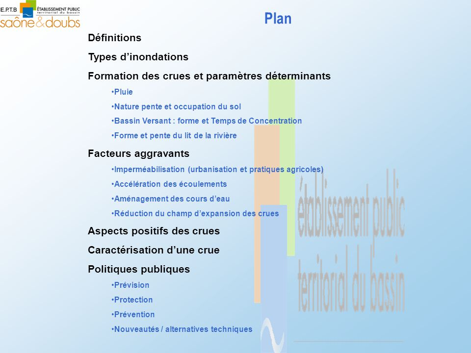 Plan Définitions Types d'inondations Formation des crues et paramètres déterminants •Pluie •Nature pente et occupation du sol •Bassin Versant : forme