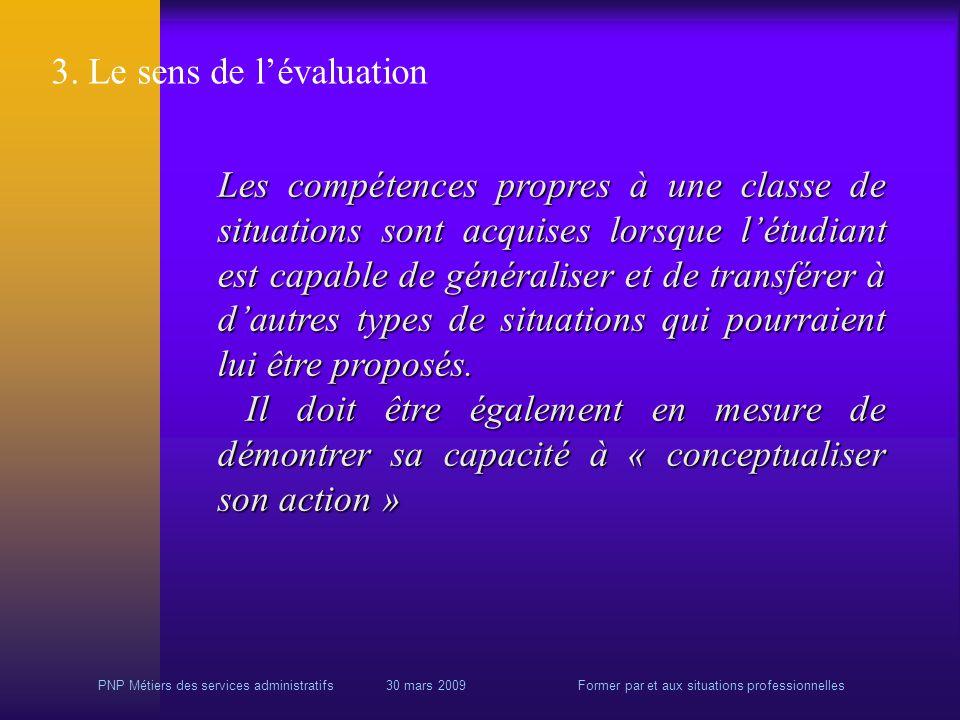 PNP Métiers des services administratifs 30 mars 2009Former par et aux situations professionnelles 3.