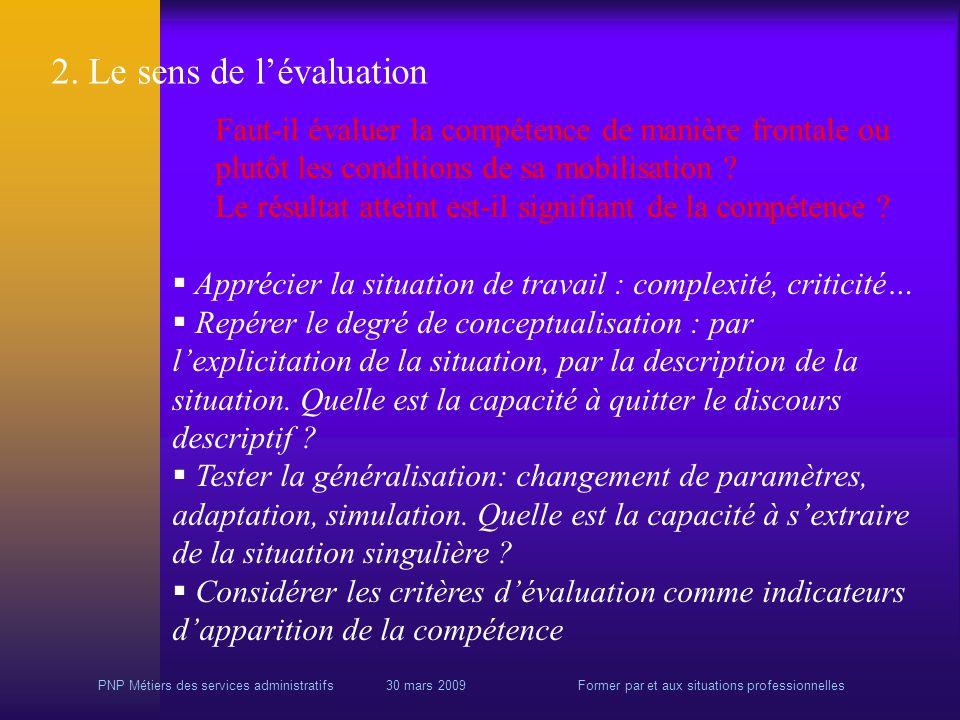 PNP Métiers des services administratifs 30 mars 2009Former par et aux situations professionnelles 2.