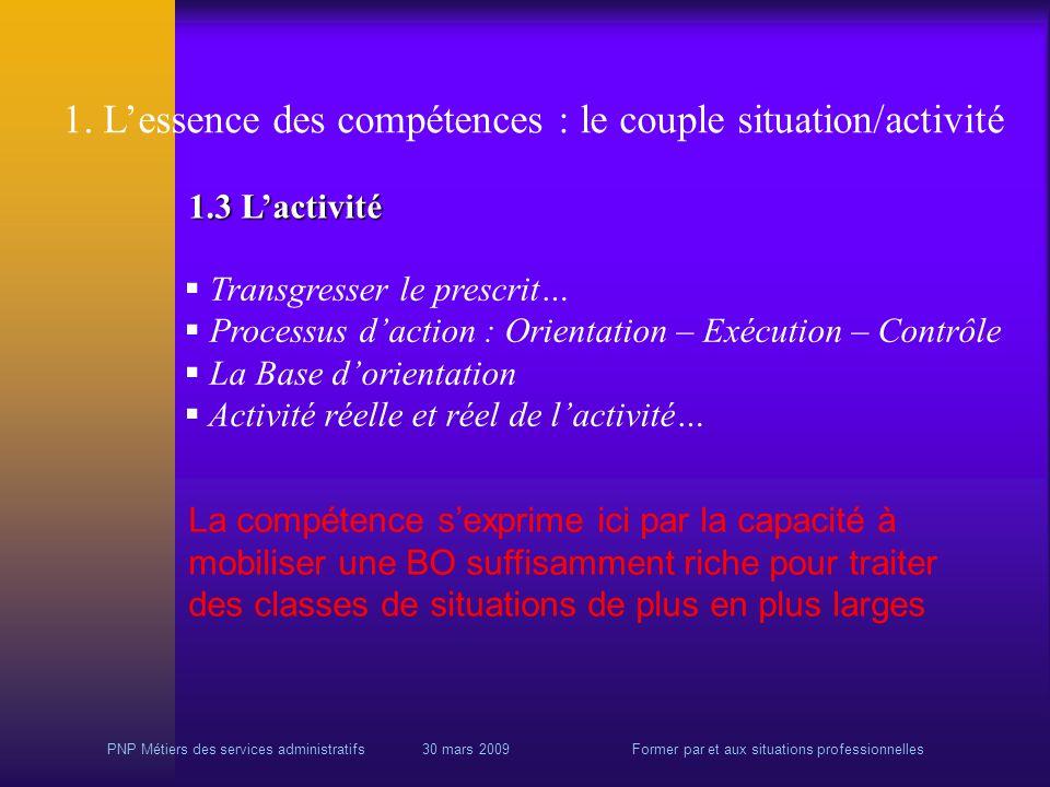 PNP Métiers des services administratifs 30 mars 2009Former par et aux situations professionnelles 1.