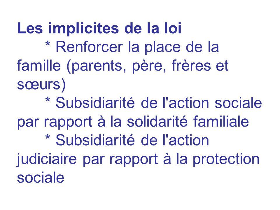 Les implicites de la loi * Renforcer la place de la famille (parents, père, frères et sœurs) * Subsidiarité de l'action sociale par rapport à la solid