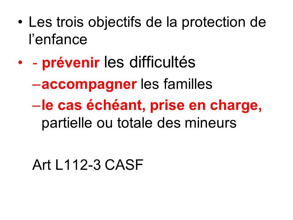 •Les trois objectifs de la protection de l'enfance • - prévenir les difficultés –accompagner les familles –le cas échéant, prise en charge, partielle