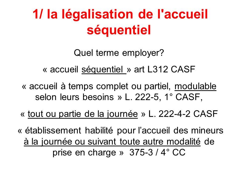 1/ la légalisation de l'accueil séquentiel Quel terme employer? « accueil séquentiel » art L312 CASF « accueil à temps complet ou partiel, modulable s