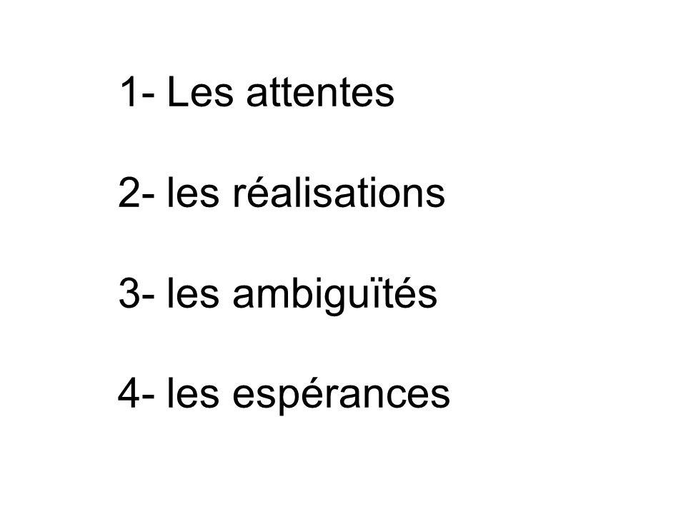1- Les attentes 2- les réalisations 3- les ambiguïtés 4- les espérances