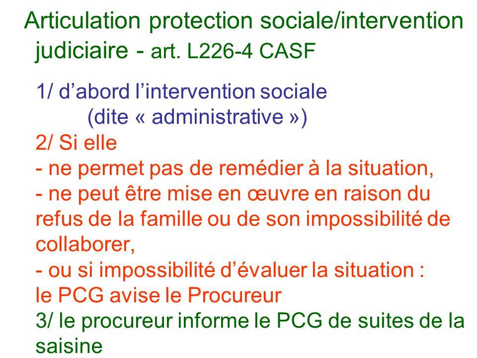 Articulation protection sociale/intervention judiciaire - art. L226-4 CASF 1/ d'abord l'intervention sociale (dite « administrative ») 2/ Si elle - ne