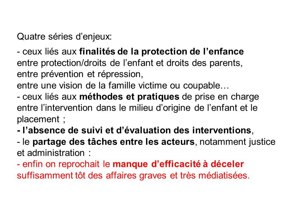 Quatre séries d'enjeux: - ceux liés aux finalités de la protection de l'enfance entre protection/droits de l'enfant et droits des parents, entre préve