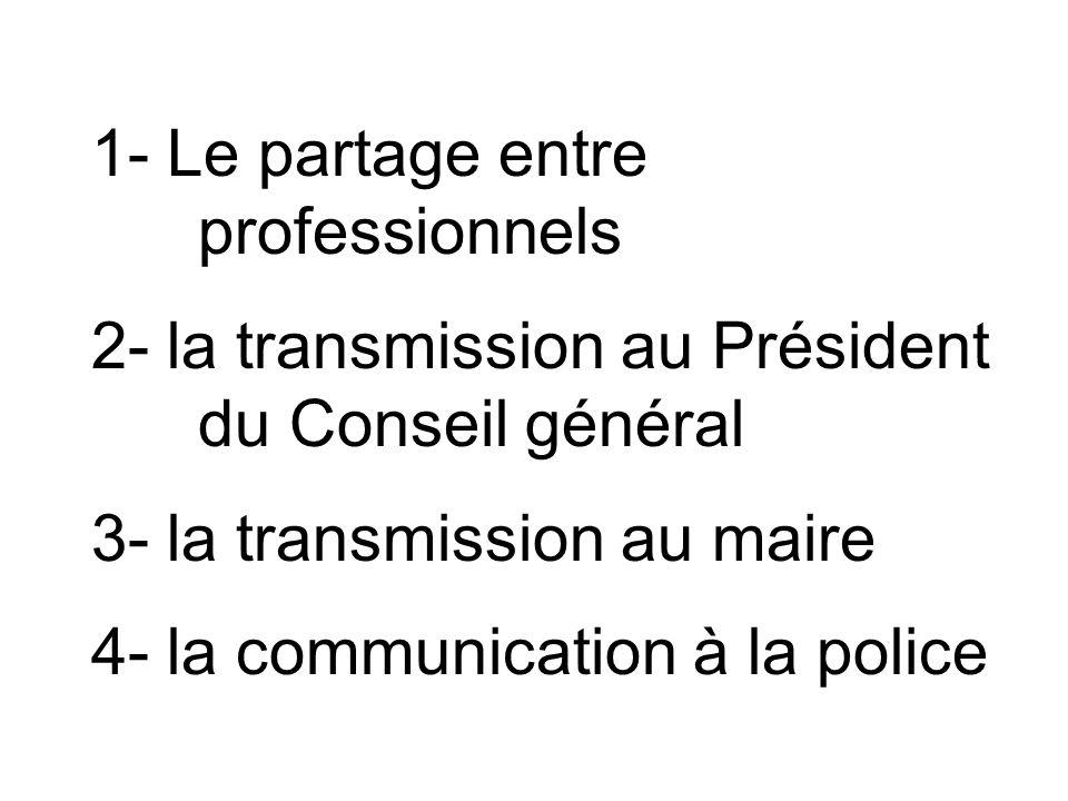 1- Le partage entre professionnels 2- la transmission au Président du Conseil général 3- la transmission au maire 4- la communication à la police