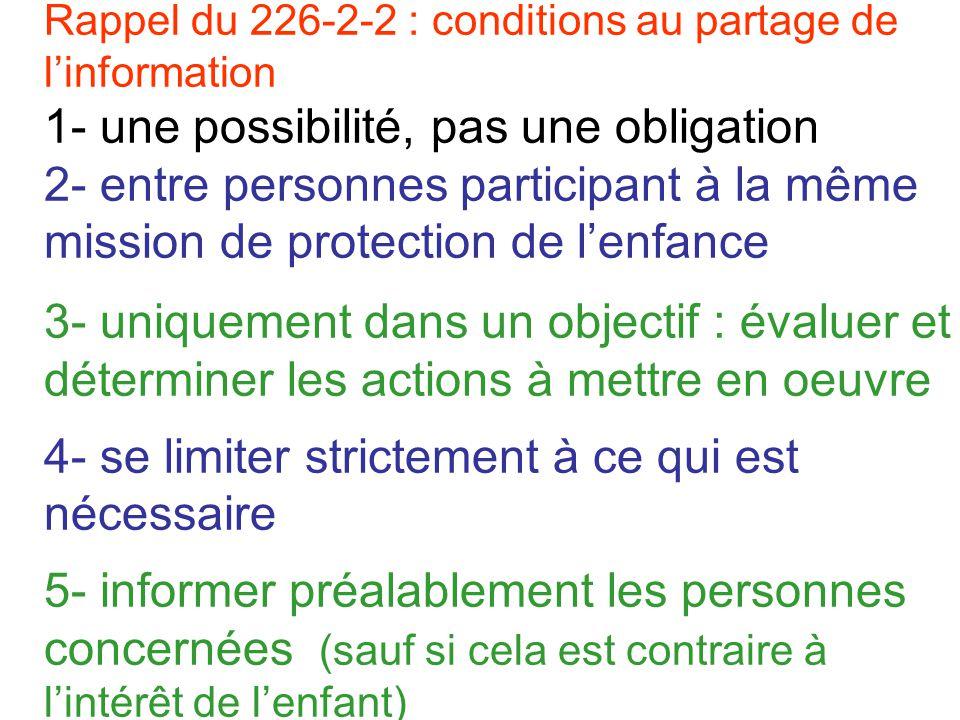 Rappel du 226-2-2 : conditions au partage de l'information 1- une possibilité, pas une obligation 2- entre personnes participant à la même mission de