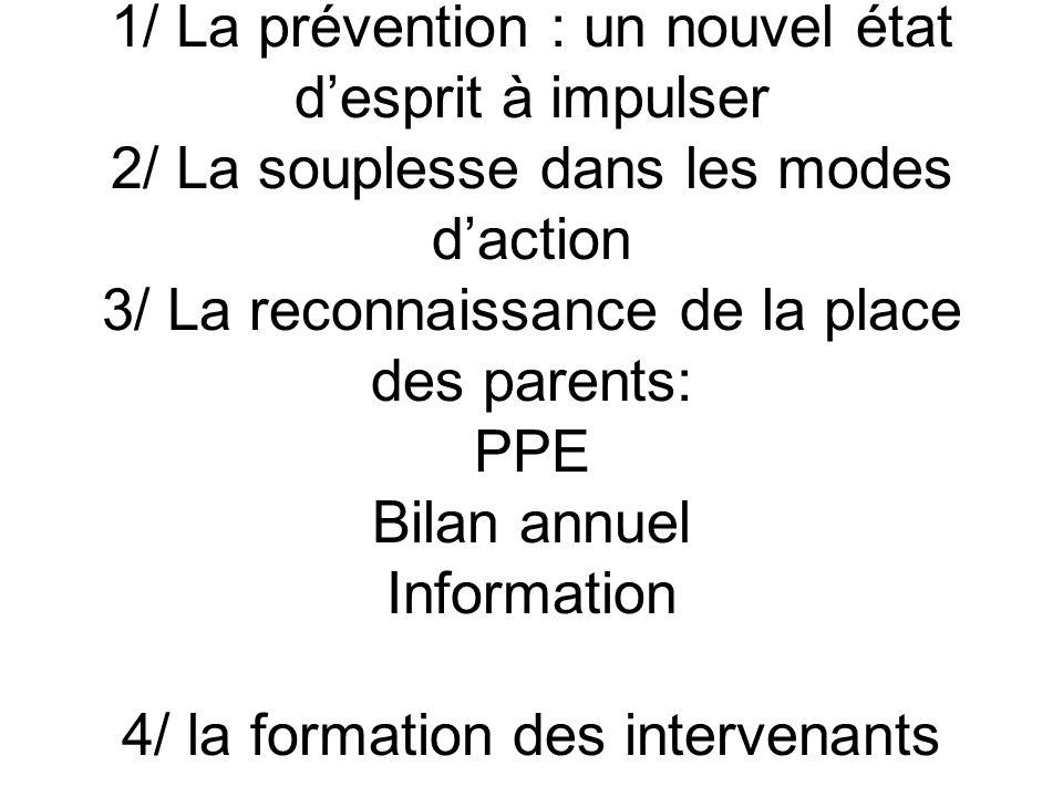 1/ La prévention : un nouvel état d'esprit à impulser 2/ La souplesse dans les modes d'action 3/ La reconnaissance de la place des parents: PPE Bilan