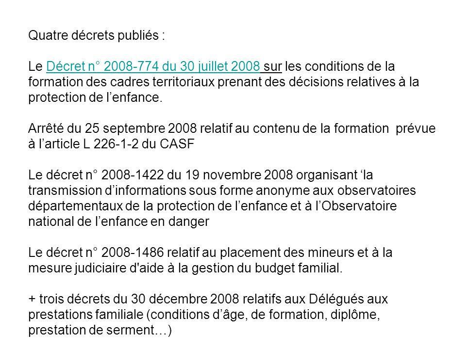 Quatre décrets publiés : Le Décret n° 2008-774 du 30 juillet 2008 sur les conditions de la formation des cadres territoriaux prenant des décisions rel